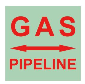 self-luminous warning of underground gas pipeline
